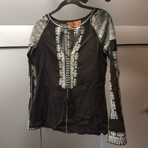 BROWN AND WHITE TORY BURCH EMBROIDERED TOP